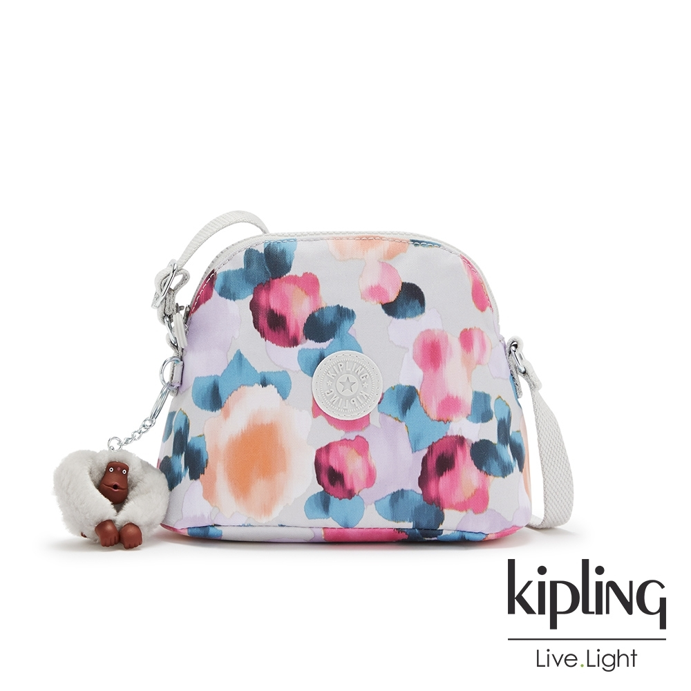 Kipling 繽紛夢幻花繪簡單造型貝殼肩背包-DORY