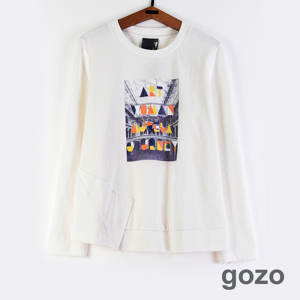gozo 藝術之旅字母色塊印花造型上衣(二色)