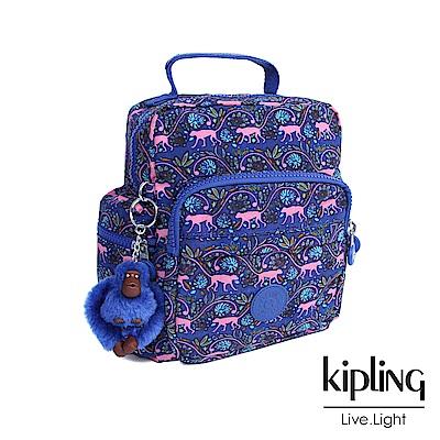 Kipling 後背包 粉色猴子叢林印花-小