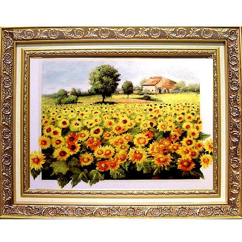 柔美加拿大風光系列 畫作--太陽花【向日葵花田】中幅