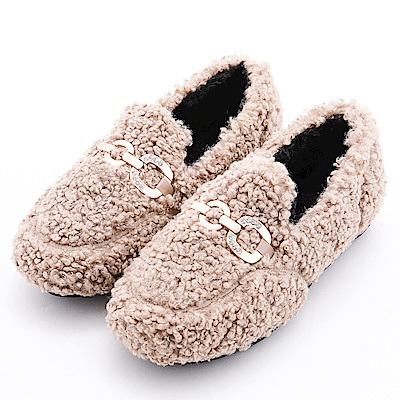 River&Moon造型馬蹄晶鑽毛毛膠底休閒鞋 卡其