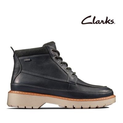 Clarks 科履行蹤 率性保暖防水綁帶中筒女靴 深灰色