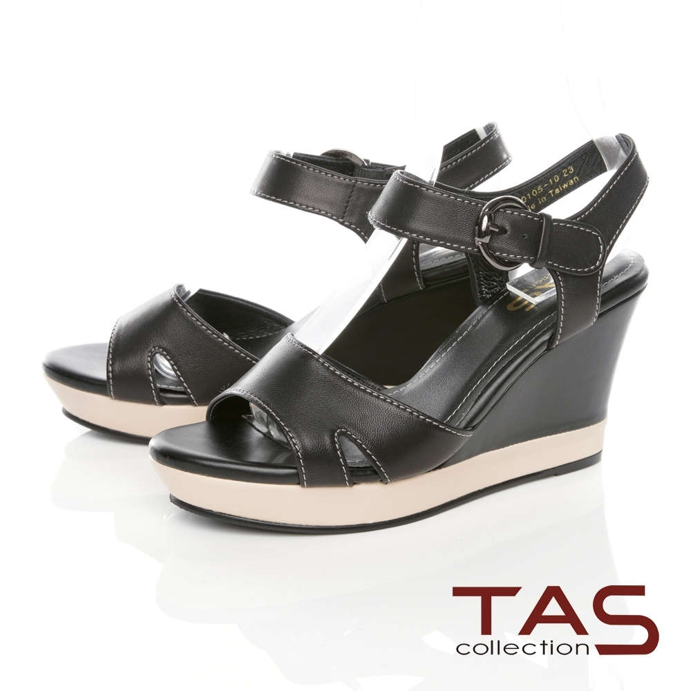 TAS寬版縫線繫帶楔型涼鞋-經典黑