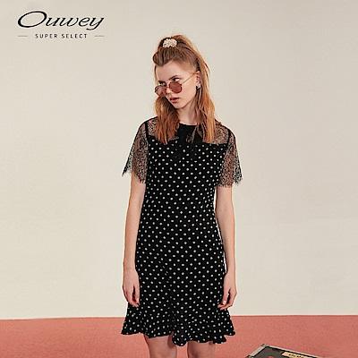 OUWEY歐薇 微透膚蕾絲圓點洋裝(黑)