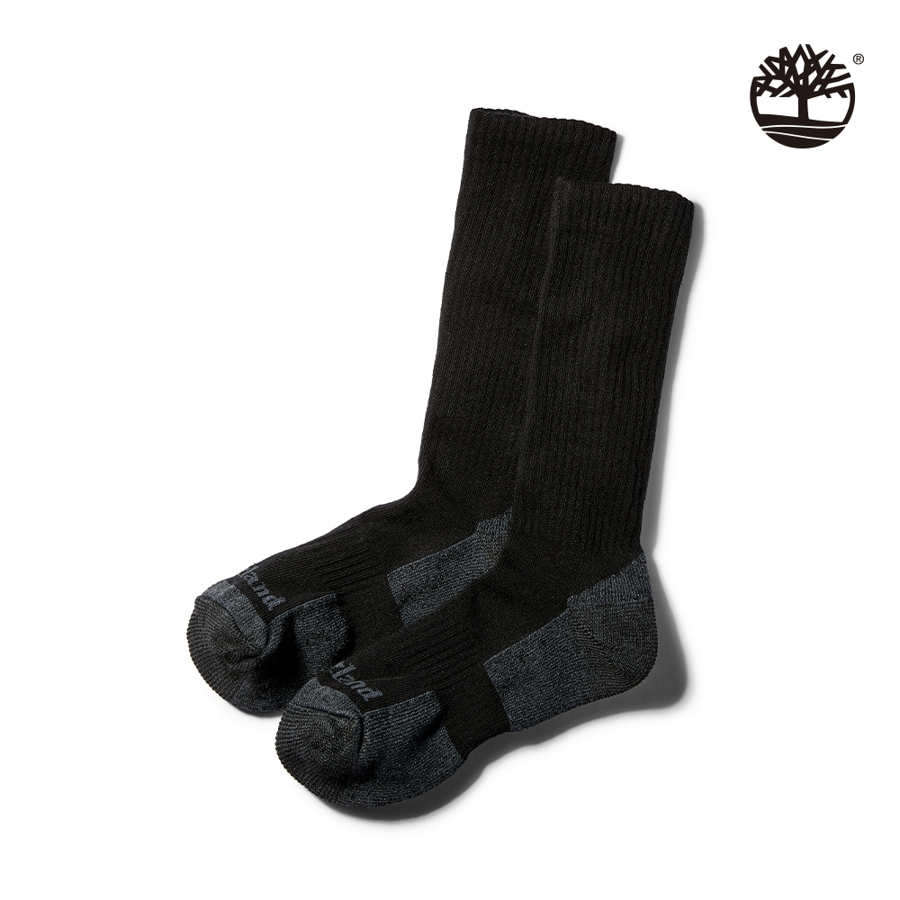 Timberland 男款黑色比狄福德羅紋針織半緩衝長襪 A1F1M