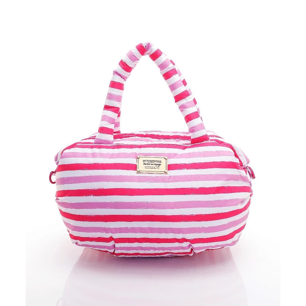 VOVAROVA空氣包-三用肩背托特包-經典條紋(粉)