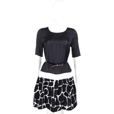 CLASS roberto cavalli 黑色紋理拼接短袖洋裝(附腰帶)