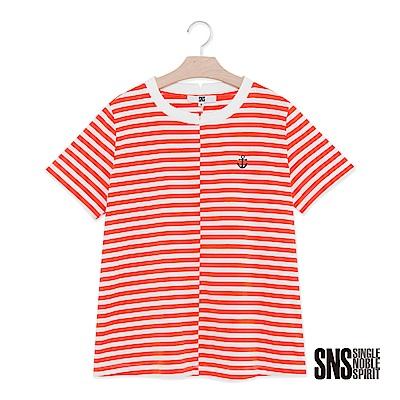 SNS 蔚藍海岸船錨刺繡拼接條紋上衣(2色)