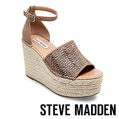 STEVE MADDEN-SWAY 悠閒度假草編楔型涼鞋-紋棕