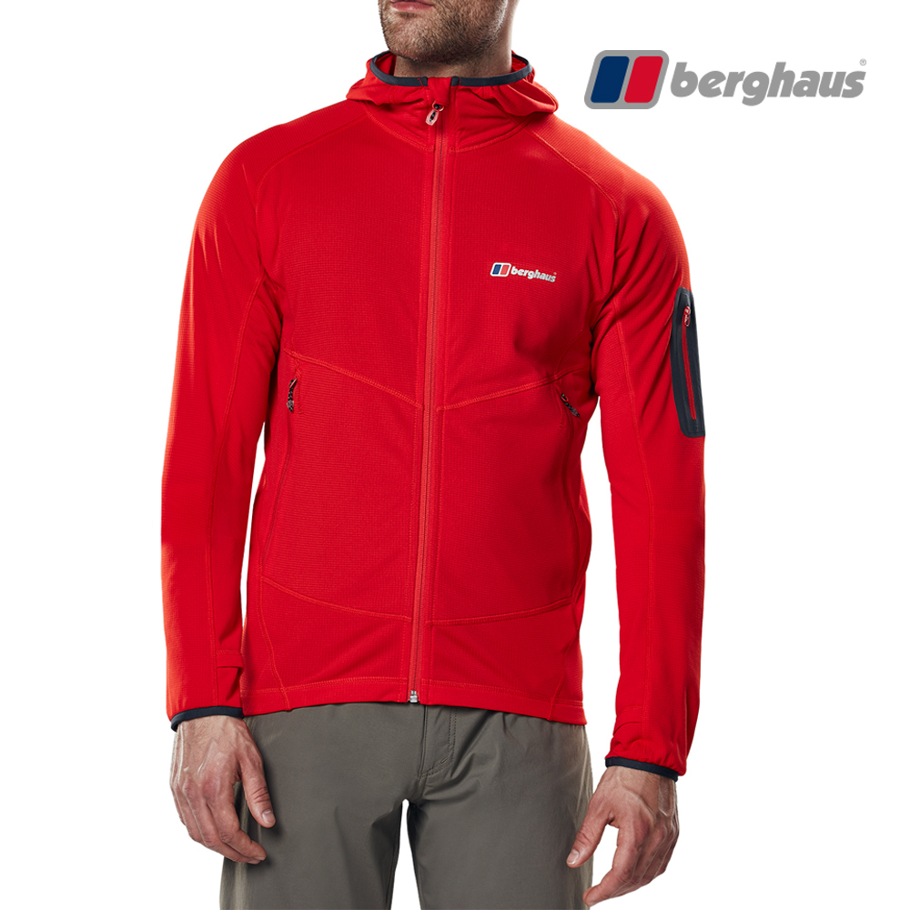 【Berghaus貝豪斯】男款輕量彈性透氣連帽刷毛保暖外套H22M46紅色