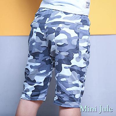 Mini Jule 褲子 滿版迷彩字母貼布鬆緊短褲(藍)