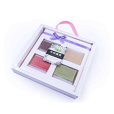綠優園-天然植萃手工潤膚皂-金箔x1,香薰衣草x1,天竺葵x1,玫瑰礦泥x1-四入盒裝