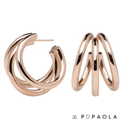 PD PAOLA 西班牙輕奢時尚品牌 True Rose Gold 層次圓圈鍍18K玫瑰金耳環