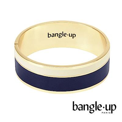 BANGLE UP 簡約條紋琺瑯鍍金寬手環 -藍白