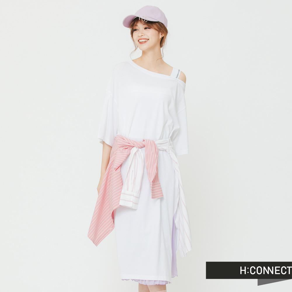 H:CONNECT 韓國品牌 女裝 - 斜肩開衩單色洋裝-白(快)