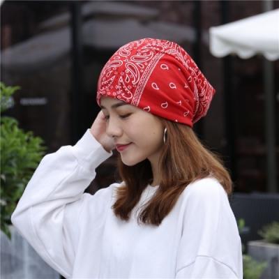 【89 zone】韓版優雅透氣民族風花花薄款套頭防風/頭巾帽(紅)
