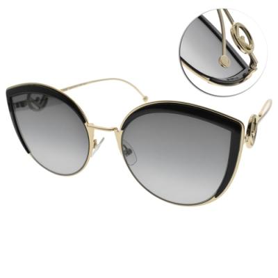 FENDI太陽眼鏡 時尚貓眼造型款/黑金-漸層藍鏡片#FF0290S 8079O