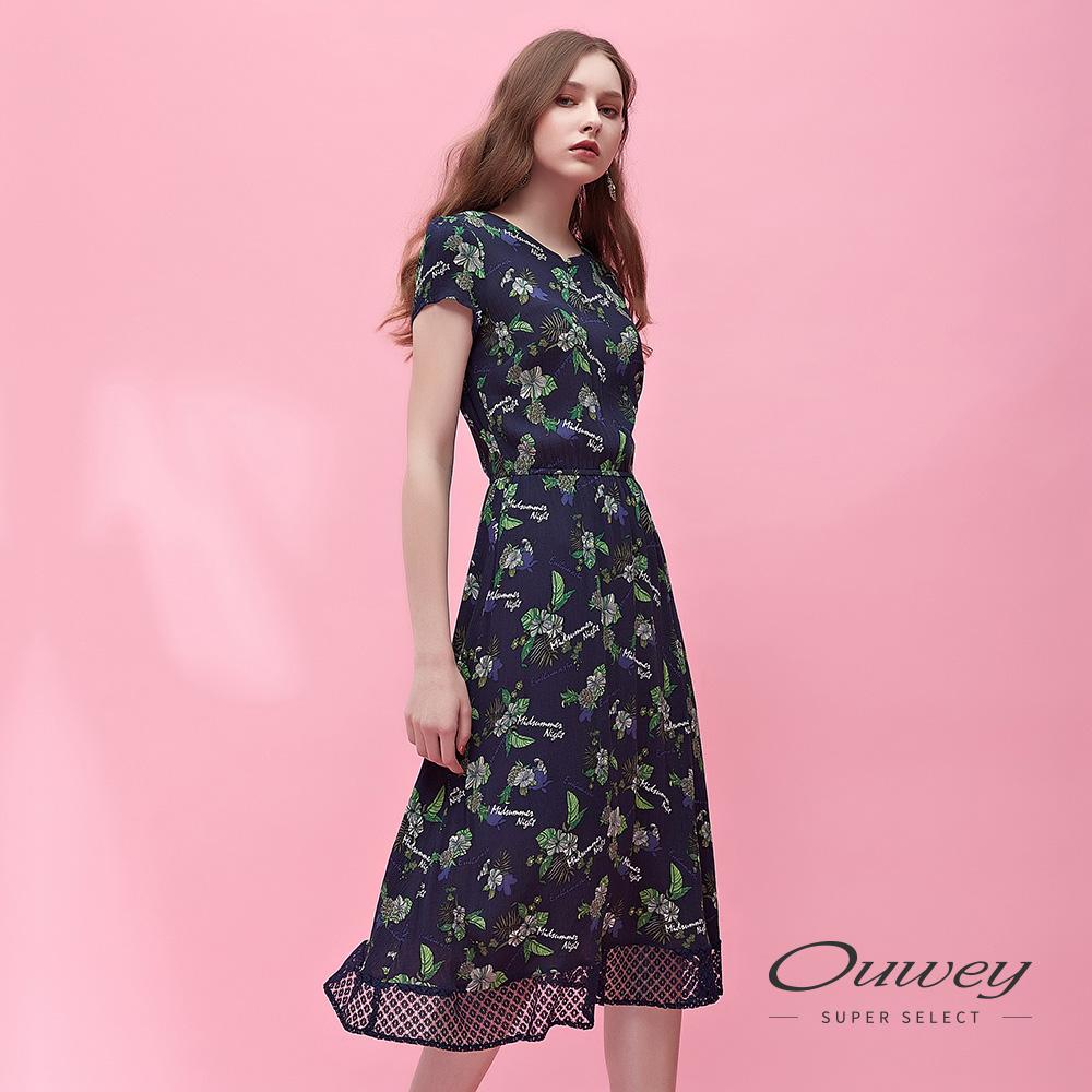 OUWEY歐薇 輕柔縲縈花草印花圓領洋裝(藍)