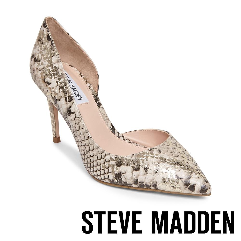 STEVE MADDEN-LESSONS1 素面尖頭側空高跟鞋-蛇皮金