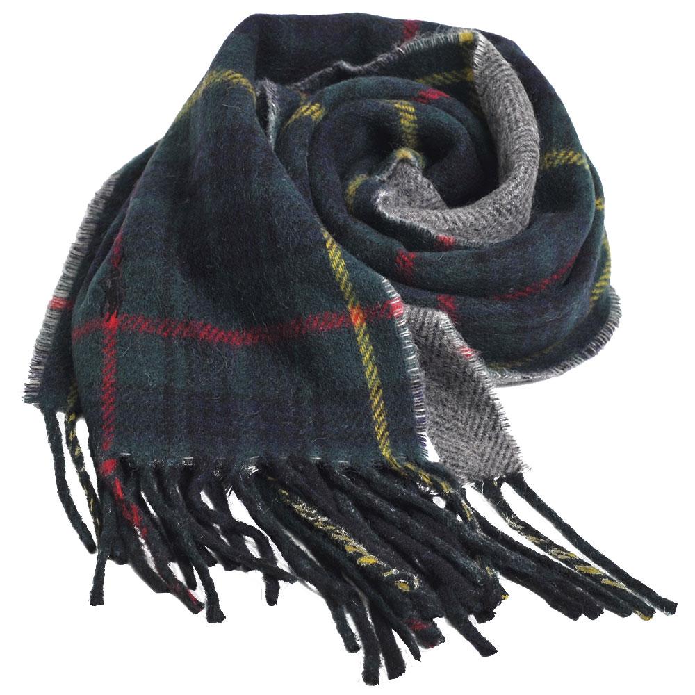 RALPH LAUREN POLO 義大利製小馬刺繡雙面配格紋羊毛圍巾(綠格)GUCCI