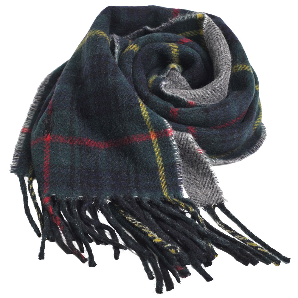 RALPH LAUREN POLO 義大利製小馬刺繡雙面配格紋羊毛圍巾(綠格) @ Yahoo 購物
