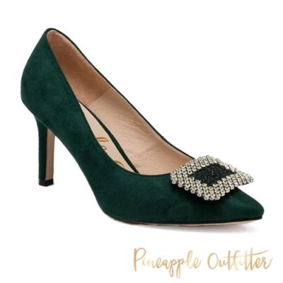 Pineapple Outfitter-PIXIE 時尚名媛方鑽布面高跟女鞋-綠色