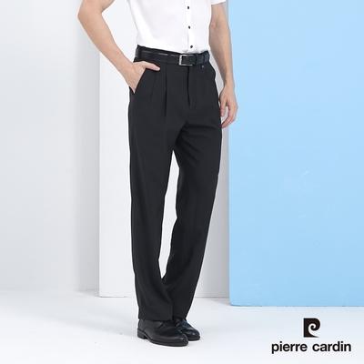 Pierre Cardin皮爾卡登 男裝 彈性伸縮腰頭打摺西裝褲-黑色 (5217811-99)