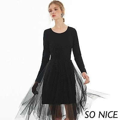 SO NICE俏麗網紗拼接洋裝