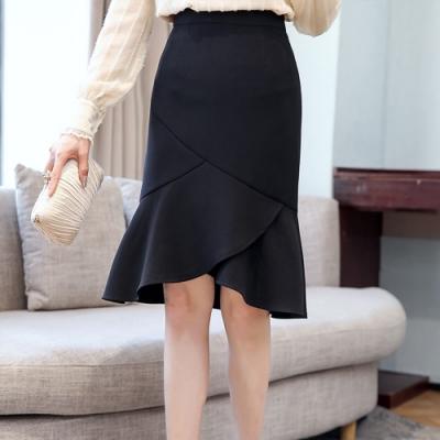 設計所在Lady-時尚荷葉邊中裙雪紡包臀裙(三色S-2XL可選)