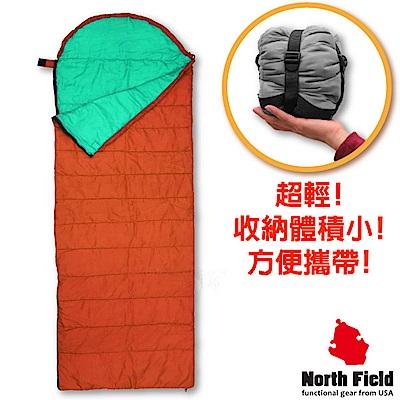 美國 North Field 丸洗 15℃超輕全開式信封型化纖睡袋_橘/蒂芬尼藍