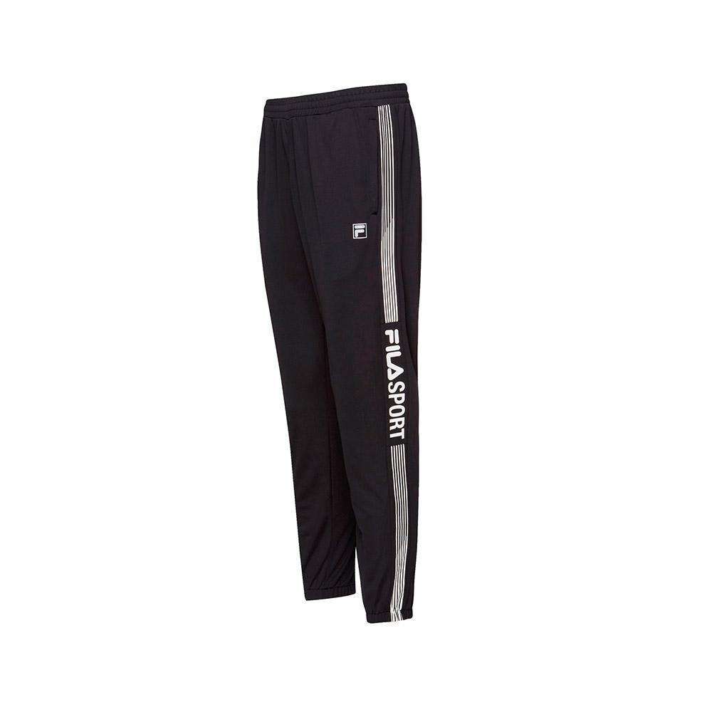 FILA 男款抗UV吸濕排汗針織長褲-黑色 1PNT-1308-BK