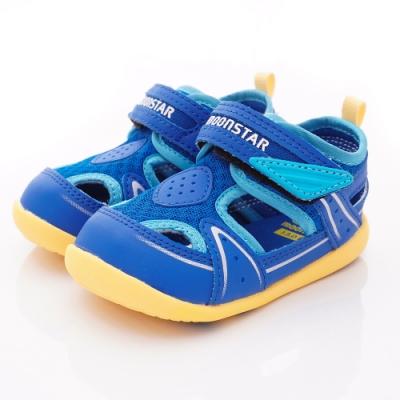 日本月星頂級童鞋 護趾學步涼鞋 ON345藍(寶寶段)