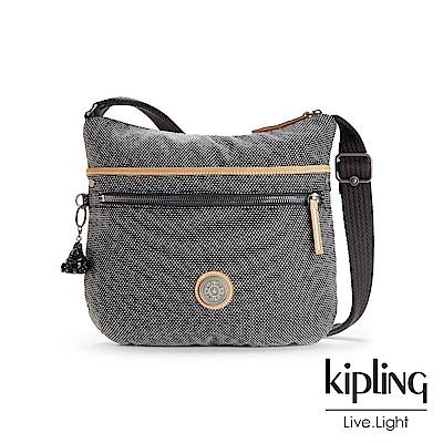 Kipling編織灰撞色前拉鍊側背包