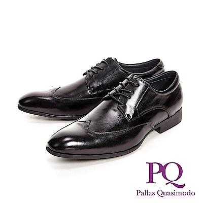 PQ 嚴選點線紋光感 男皮鞋-黑