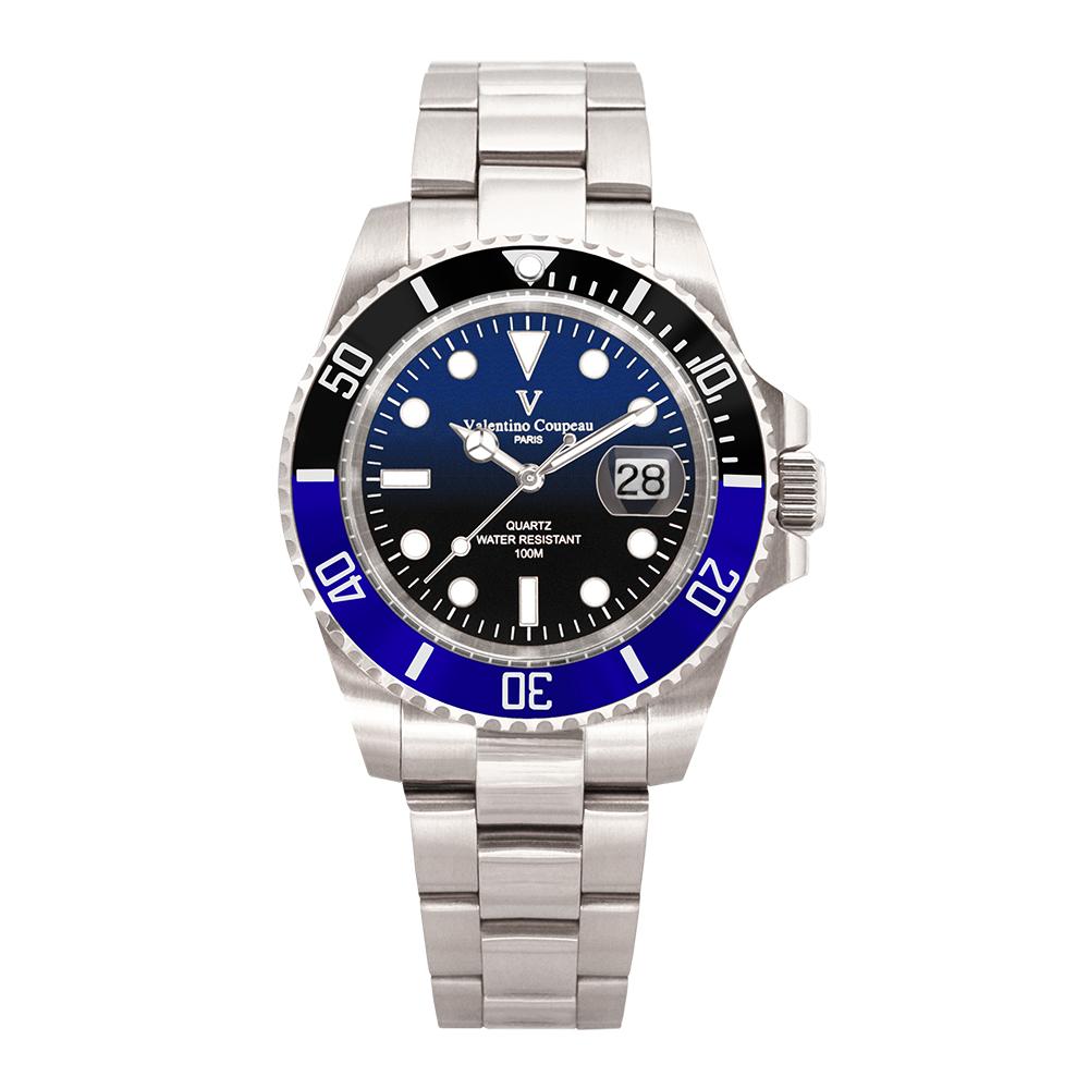 Valentino Coupeau 范倫鐵諾 古柏 雙色陶瓷水鬼腕錶 (銀色/漸層/鋼帶)