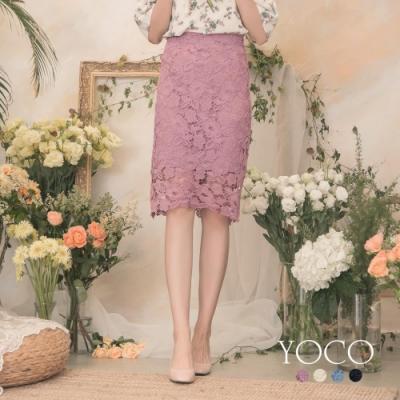 東京著衣-YOCO 高雅氣質高腰鏤空雕花蕾絲窄裙-S.M.L(共四色)