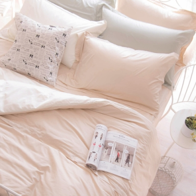 OLIVIA  TWINS 米X米白 標準單人床包冬夏兩用被套三件組 MOC莫代爾棉 台灣製