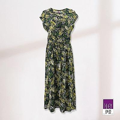ILEY伊蕾 葉脈印花長版洋裝(綠)