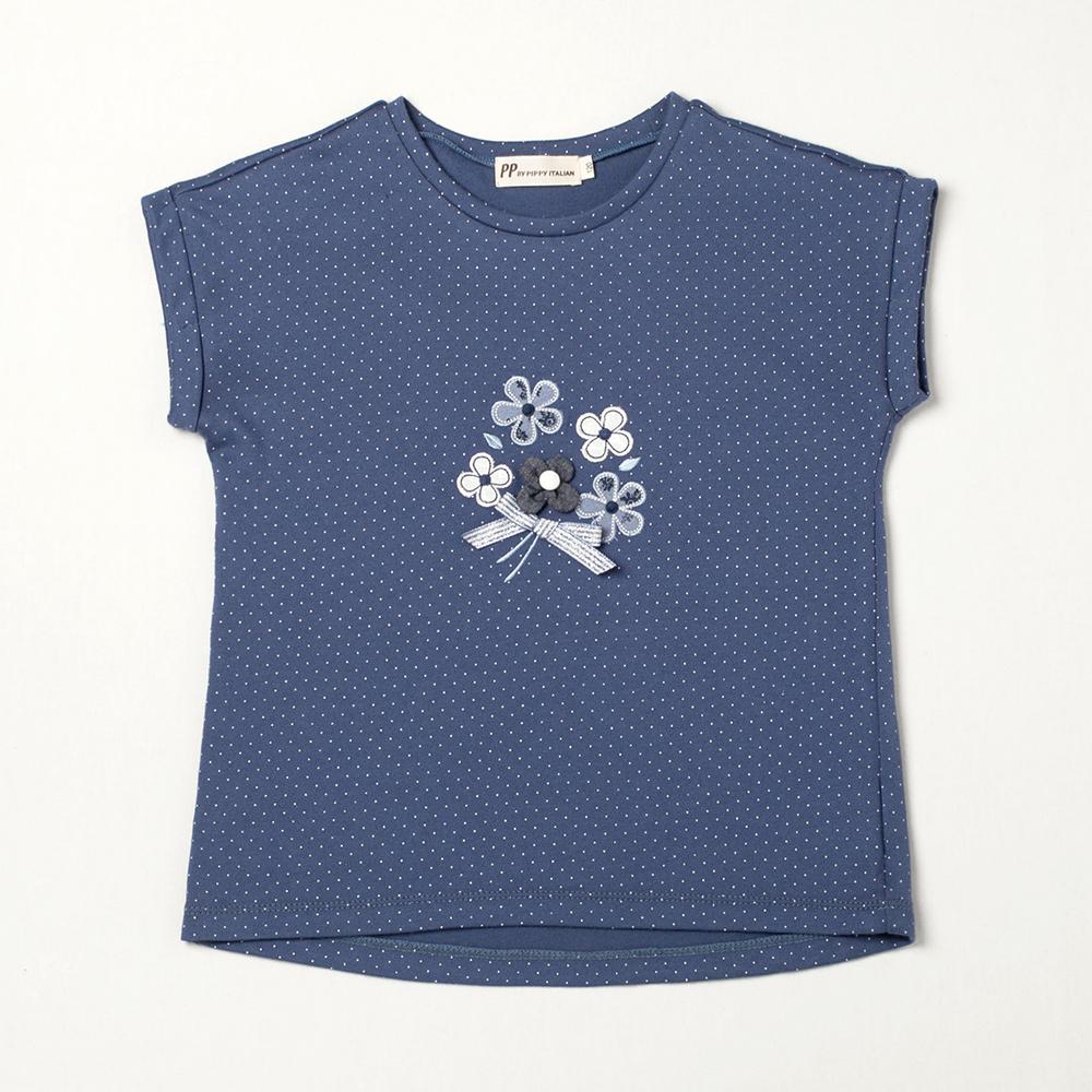 PIPPY 點點半立體花連袖上衣 藍