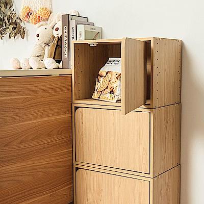 樂嫚妮 DIY 日式 收納櫃/門櫃/書櫃/附門-楓木色3入組-42X28.2X28.8cm