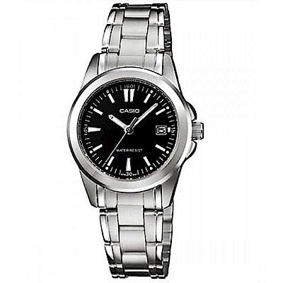 CASIO 時尚魅力典雅淑女腕錶(LTP-1215A-1A2)-黑面/28mm