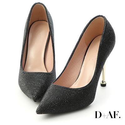D+AF 璀鑽名媛.燙鑽金屬跟尖頭高跟鞋*黑