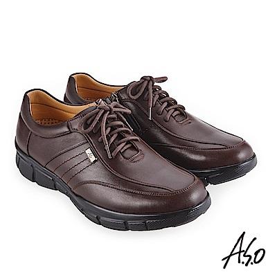 A.S.O 3D超動能 精緻飾釦休閒鞋 咖啡