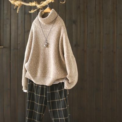 素色螺紋開叉高領毛衣寬鬆長袖羊毛針織衫-設計所在
