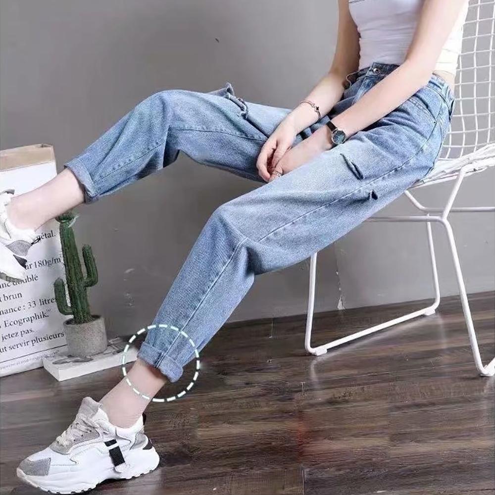 JILLI-KO 高腰後鬆緊蘿蔔牛仔褲- 藍色
