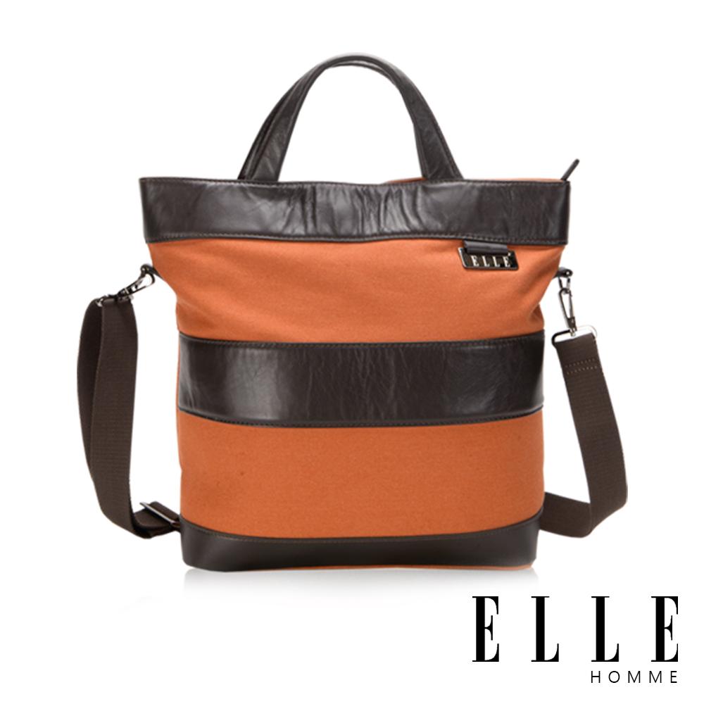 福利品 ELLE HOMME 橫條紋拼接手提/肩側背包- 橘色