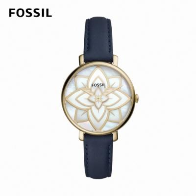 FOSSIL Jacqueline 山茶花氣質女錶 藍色真皮皮革錶帶 36MM ES4938
