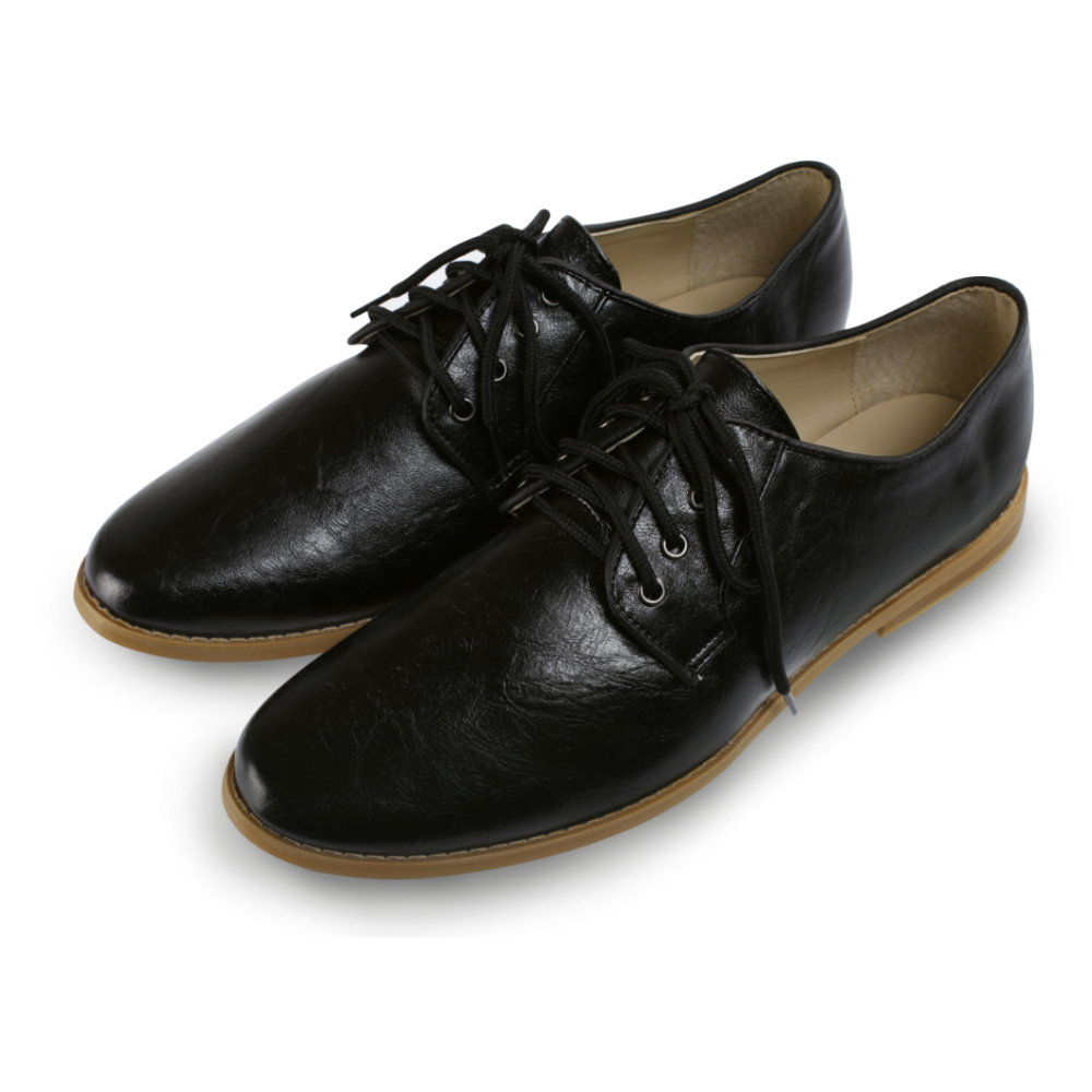 BuyGlasses 韓國人氣紳士綁帶黑邊皮鞋-黑