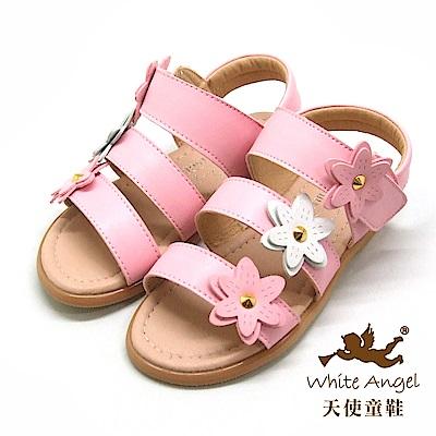 天使童鞋 清新桐花涼鞋(中-大童)D942-粉