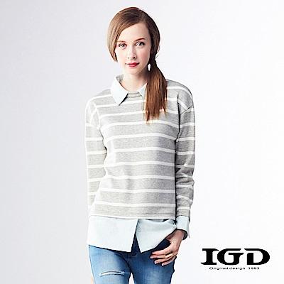IGD英格麗 悠閒條紋拼接襯衫假兩件式造型上衣-淺灰